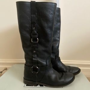 Frye Paige Loop Pull-on Tall Riding Boots Black 9